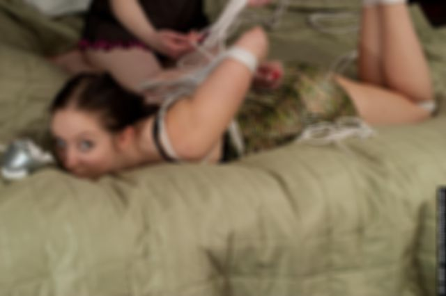 JILL IS HOGTIED AND TAPE GAGGED BY MARIE