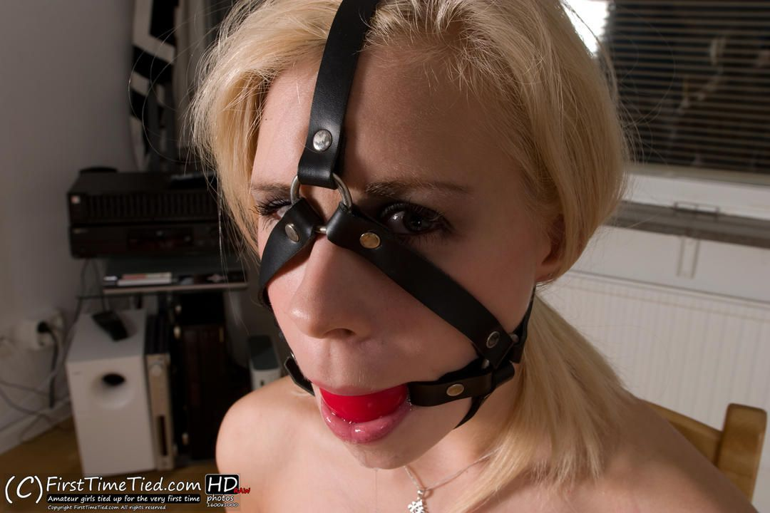 Donna chairtied naked and harness ballgagged - 2