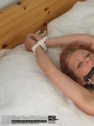 Freja tied up naked on the bed and bit gagged - 1