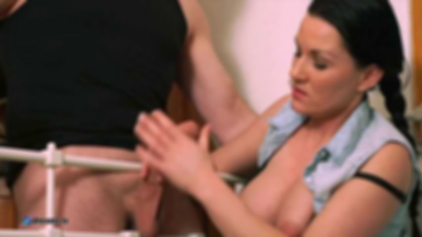 Mia's Handjob To Glace Her Huge Tits With Cum