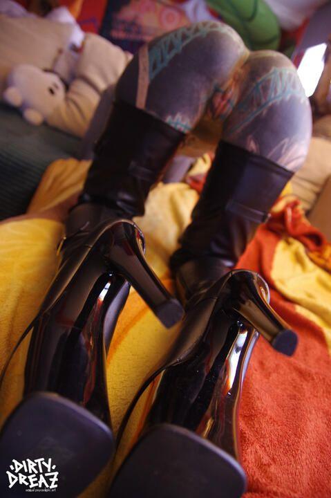 Overknee leather high heels fuck
