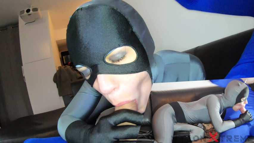 152-Katy with zentai catwoman Make blowjob encasement Nylon