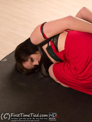 Erika tied up bare foot in her red dres - 2