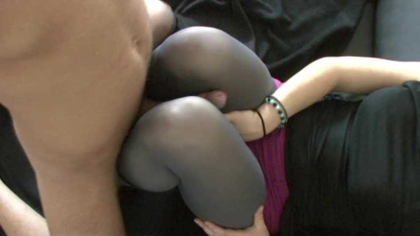 16 Pink nylon mask and grey pantyhose legs