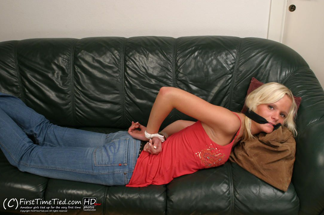 Mikaela tied up and  cleave gagged for the very first time - 3