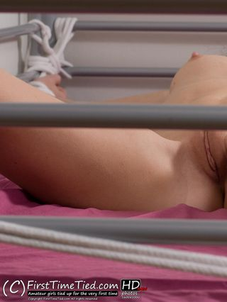 Katarina spread eagle tied totally naked in bed - 1