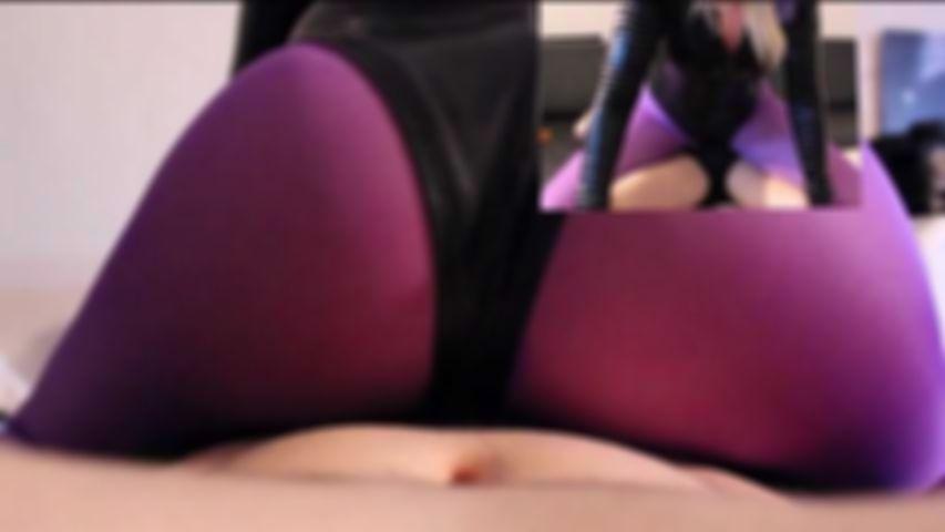 59 Purple nylon pantyhose head And legs Leotard