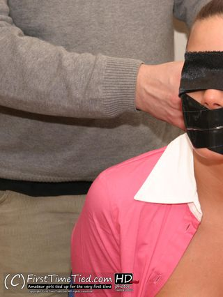 Lina the secretary tape tied, tape gagged and blindfolded at the office - 4