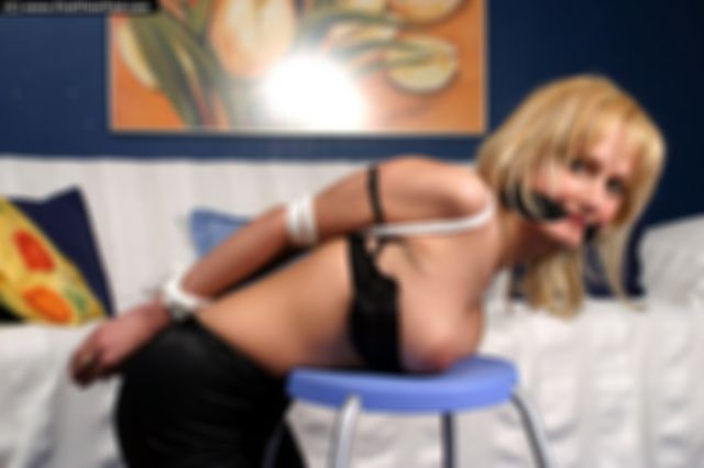 SARA TIGHTLY ELLBOW TIED AND CLEAVE GAGGED TOPLESS