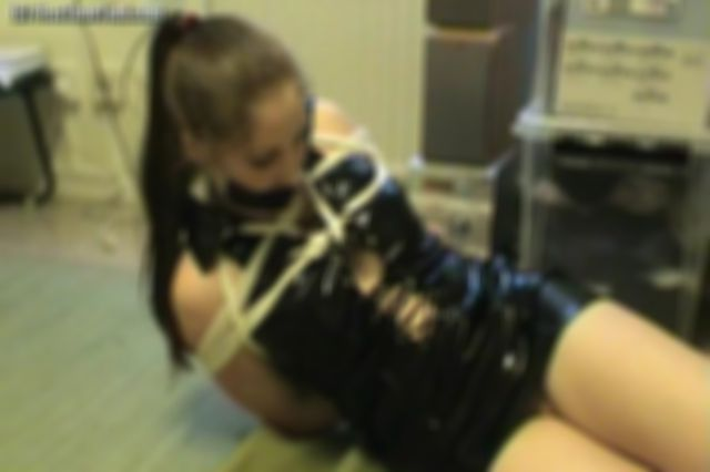 JOHANNA TIED UP AND TAPE GAGGED IN BLACK LATEX DRESS