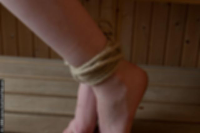 MARIE TIED UP ON THE SAUNA