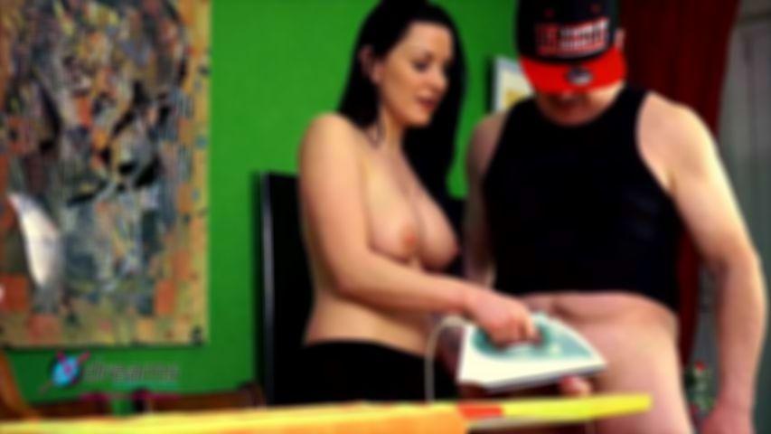 Mia's Topless Cock Pressing Handjob
