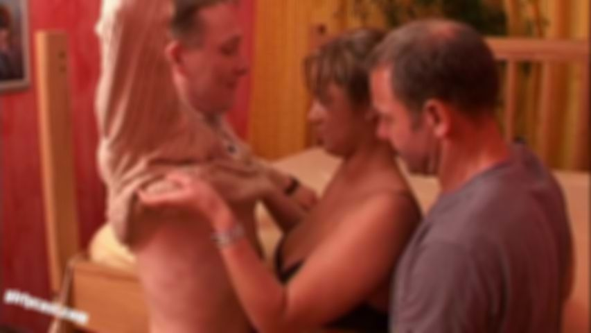 Hot Lena's first threesome with 4 cumshots
