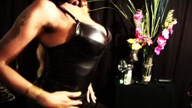 Tight latex breast worship