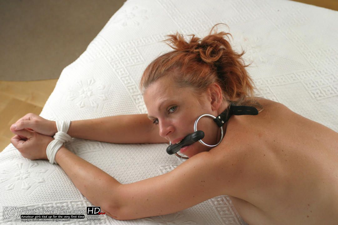 Freja tied up naked on the bed and bit gagged - 2
