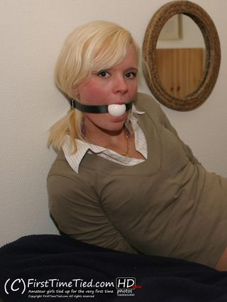 Mikaela hogtied and ballgagged on the bed - 3