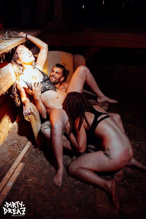 threesome in the barn