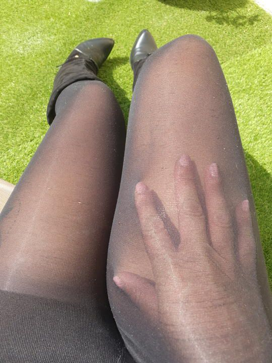 23 pics of Marion Lew Black nylon Pulsion pantyhose