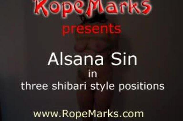 Alsana Sin in 3 Shibari Stellungen