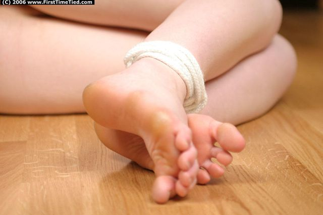 MARIE TIGHTLY TIED UP ON THE FLOOR AND RING-GAGGED DROOLING