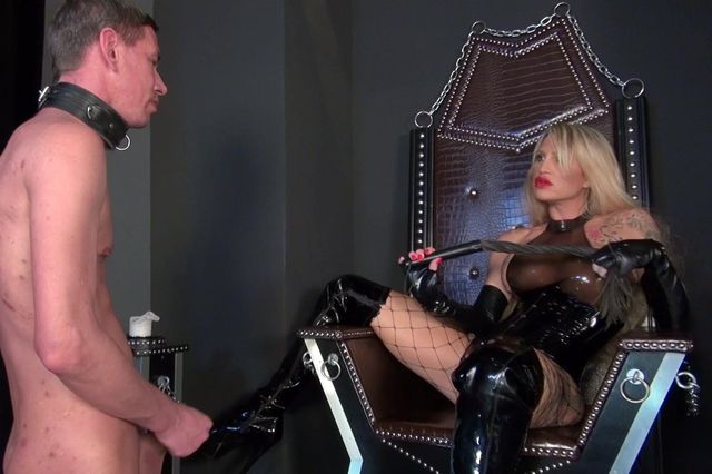Boot slave humiliated and forced to wank