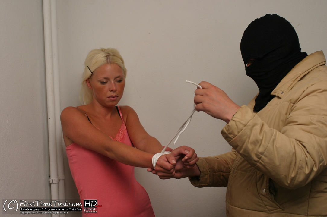 Paula tied up by masked burglar - 1