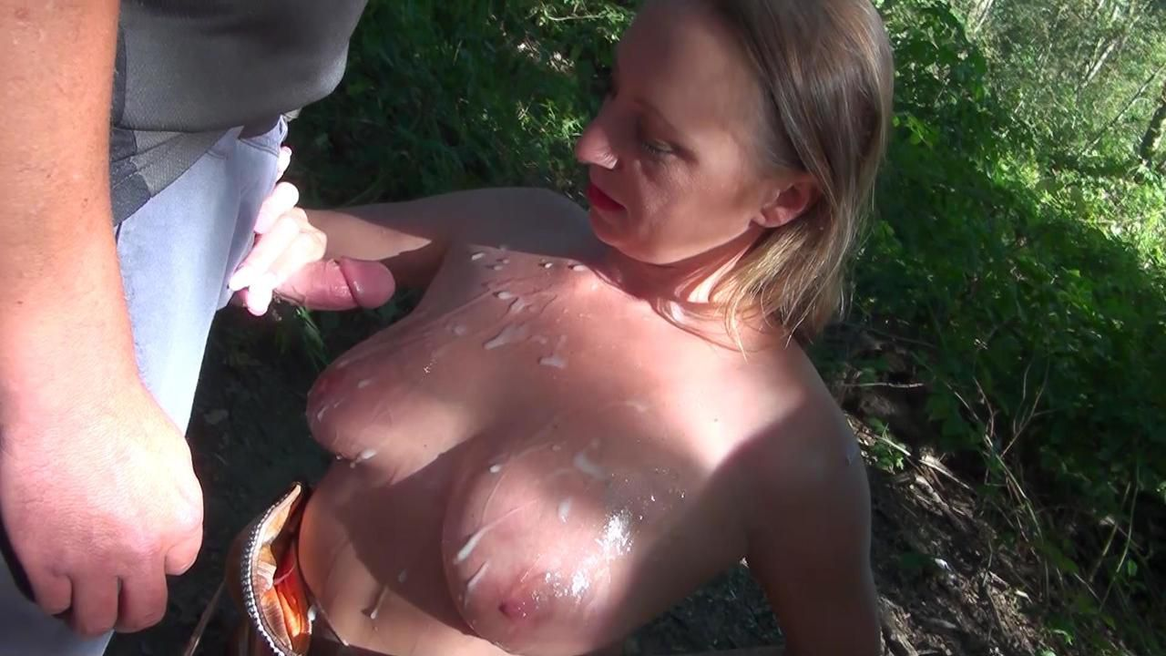 Spray-on girl in the forest