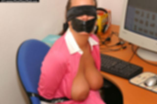LINA THE SECRETARY ALL TAPED UP AT THE OFFICE
