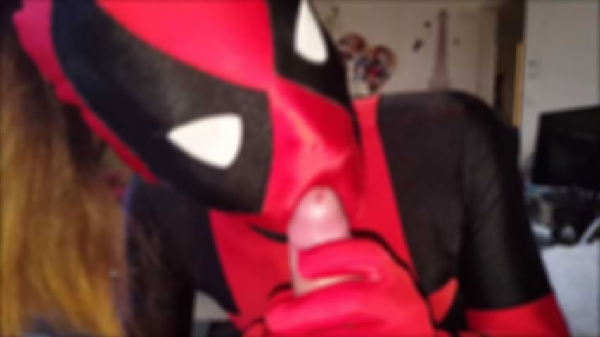 88 Zentai Deadpool Girl Kostüm Blowjob