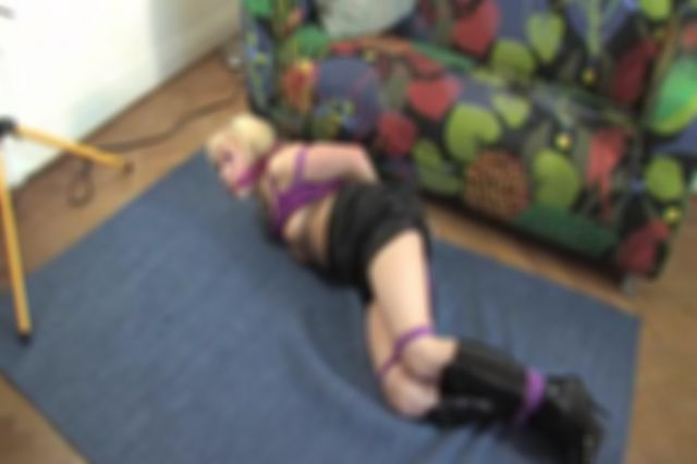 DONNA TIED UP AND GAGGED ALL IN PURPLE - BEHIND ACTION