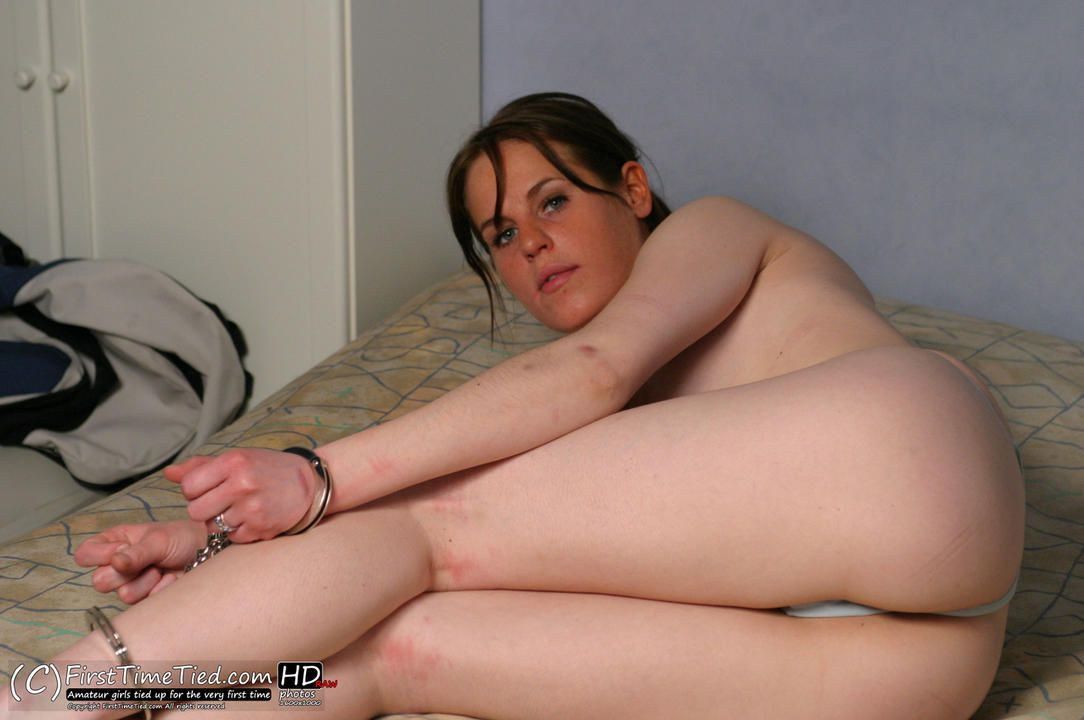 Elin handcuffed topless and reverse hogtied