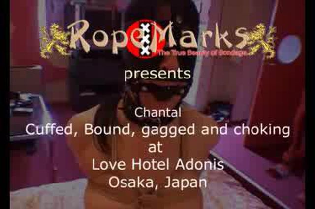 Chantal bound, gagged and collared at Love Hotel Adonis, Osaka, Japan