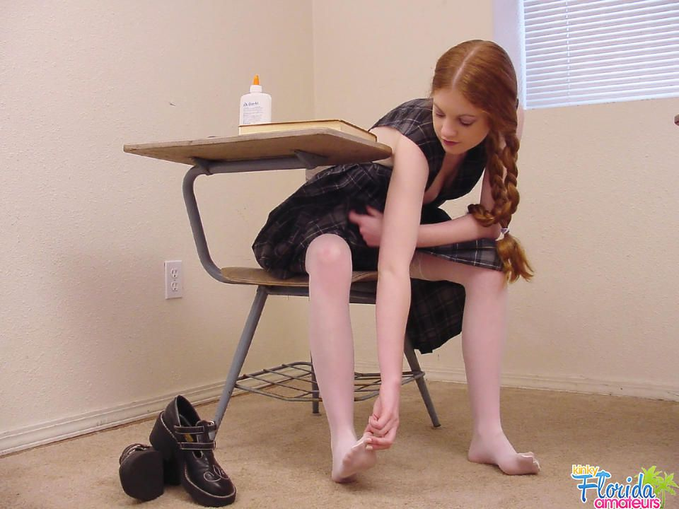 Redhead Teen Nicole In Her Classroom Playing With Her Feet