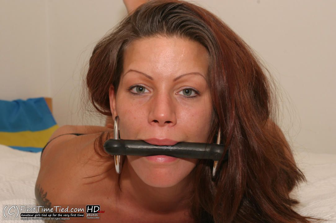 Lina the swede hogtied topless and bit gagged in bed - 3