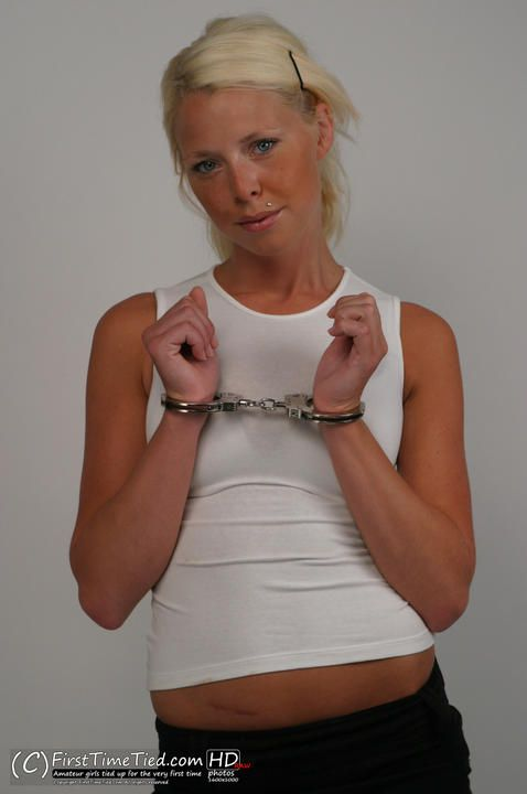 Paula handcuffed in the studio - 1