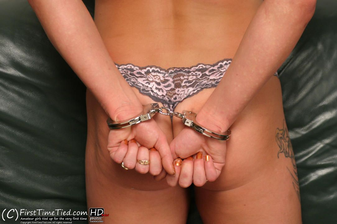 Sanna topless, handcuffed and ballgagged for the very first time - 2