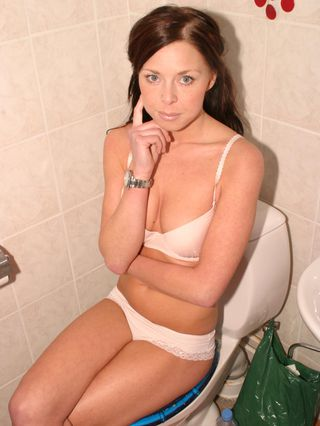 Paula zip tied and cleave gagged in the bathroom 1