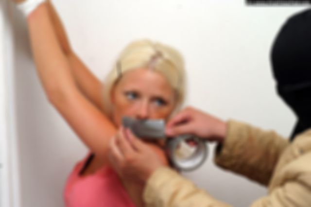 PAULA TIED UP AND TAPEGAGGED BY THE BURGLAR