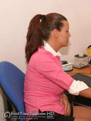 Lina the secretary tape tied at the office - 1