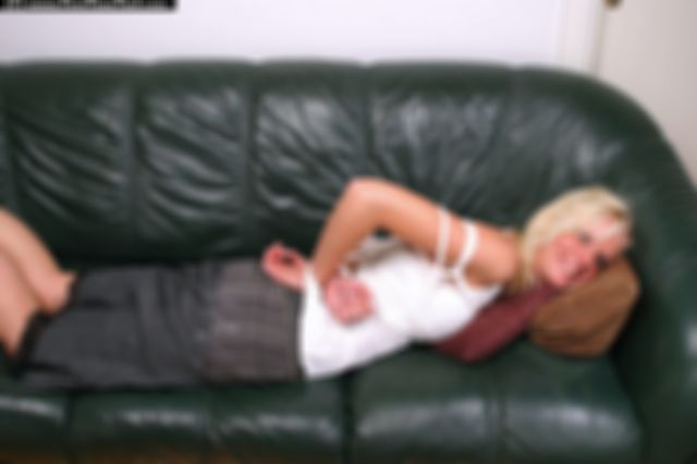 MIKAELA TIED UP AND BALLGAGGED IN THE SOFA