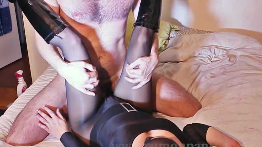 81 Encasement Black pantyhose Bodysuit suck and fuck cum