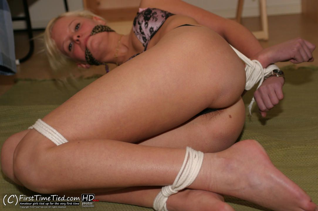 Mikaela tied up barefoot in underwear on the floor - 2