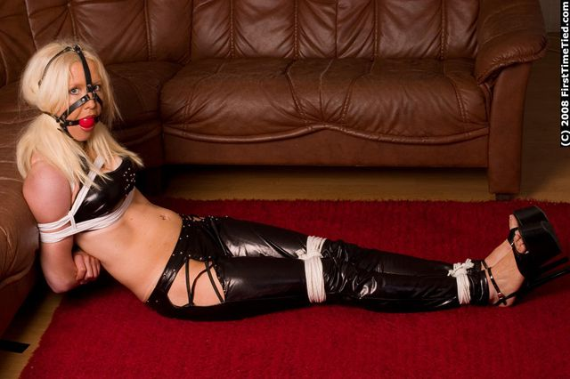 MONICA TIGHTLY TIED UP AND HARNESS BALLGAGGED