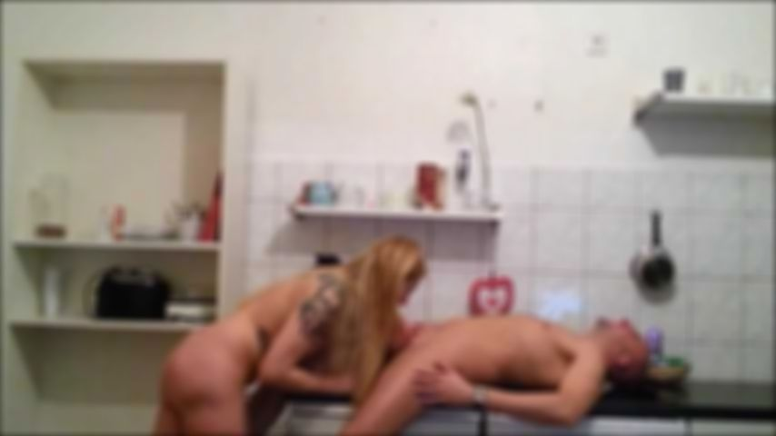 Hard fucking in the kitchen