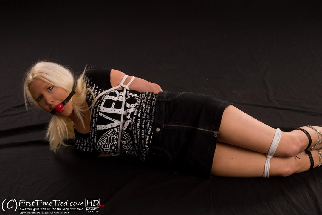 Monica tied up and ballgagged the very first time - 2