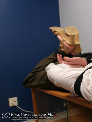 Anki the secretary hogtied and cleave gagged at the office - 3