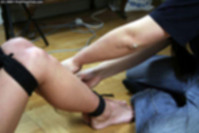 ELIN TIGHTLY HOGTIED AND BALLGAGGED ON THE FLOOR