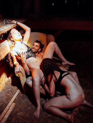 threesome in the barn
