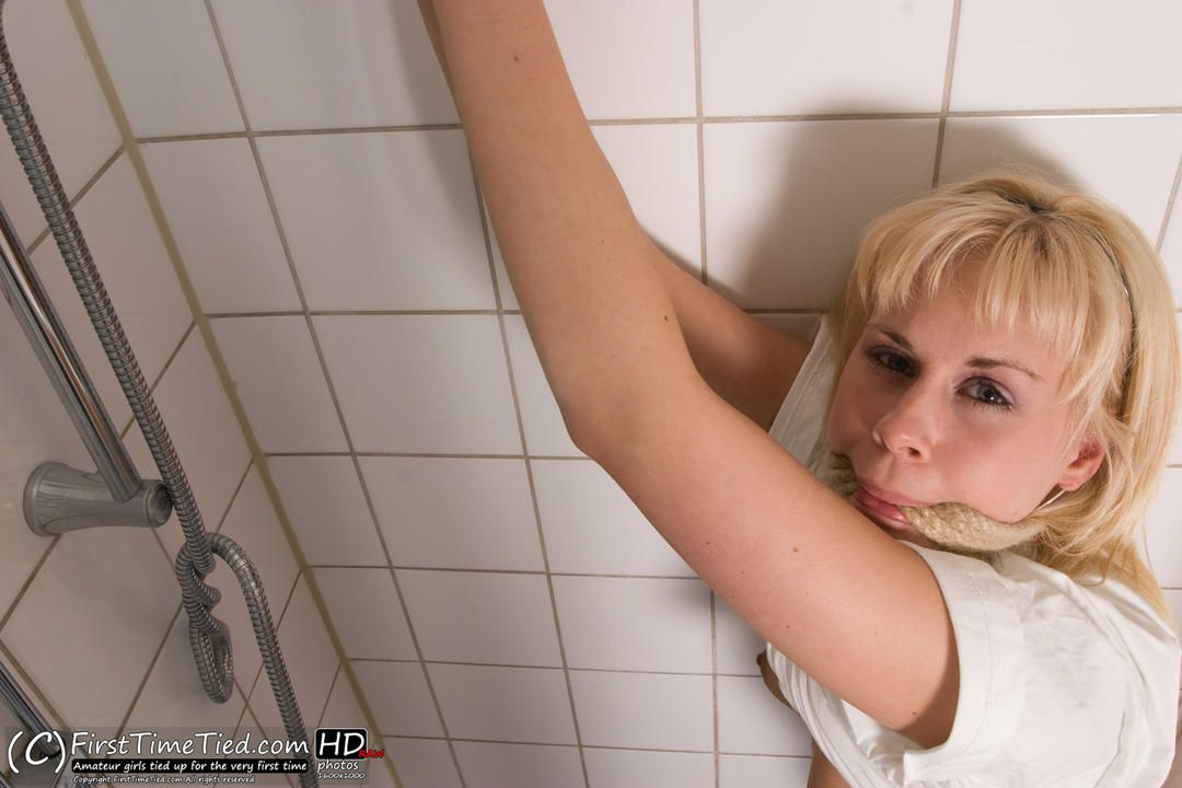 Donna tied up in the shower and rope gagged  - 3