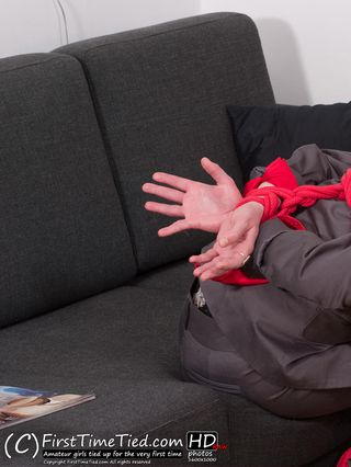Monica harness tied and cleave gagged in her business suit - 2